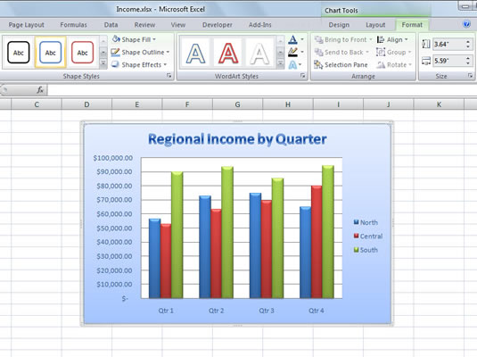 Use the Chart Tools Format tab to format existing chart elements.