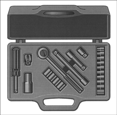 A socket wrench set.