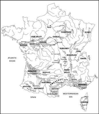 The many wine regions of France.