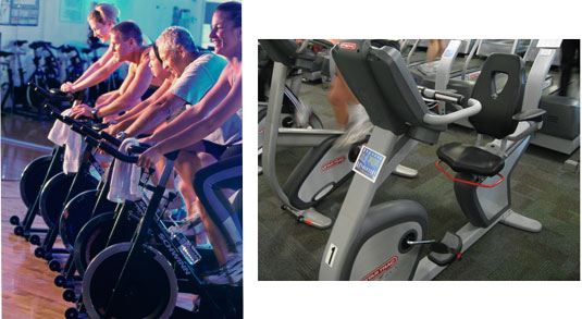 A row of upright bikes (left), and a recumbent bike. [Credit: Photographs by Purestock]