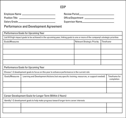 A sample road-map form for an EDP.