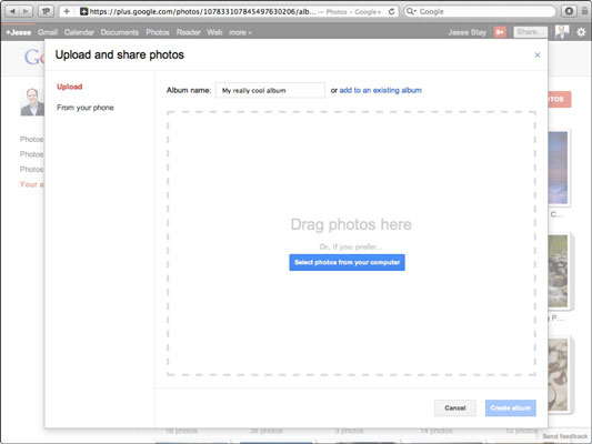 Uploading a photo or video in Google+.