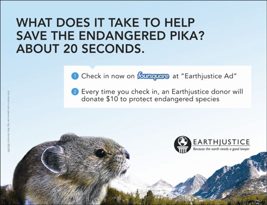 To raise funds, Earthjustice used a Foursquare call to action on billboards. [Credit: Courtesy of E