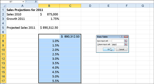 Sales projection worksheet with a column of possible growth percentages to be plugged into a one-va