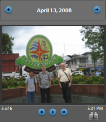 The right panel shows a thumbnail view of a photo with scroll arrows and numbers.