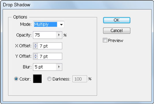 The Drop Shadow dialog box gives the effect's options and preview.