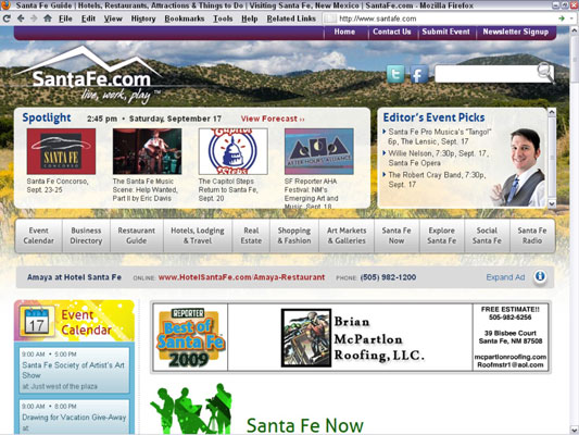 The relaunch of SantaFe.com as an advertising-supported website required a new business plan. [Cred