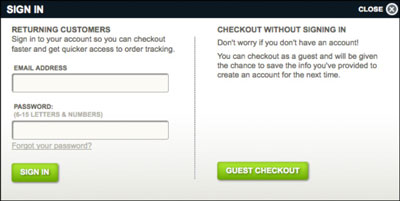Good e-commerce sites allow users to check out either by signing in or by continuing as a guest. [C