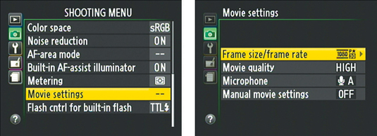 You access all movie-recording options except Video Mode through the Movie Settings option on the S