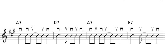 A straight-eighth progression in A that uses common syncopation figures.