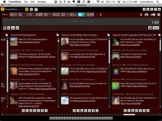 Monitoring search columns in TweetDeck.