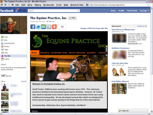The Equine Practice created its Facebook fan page using the Wix app. [Credit: © The Equine Pra