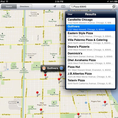 Search for <i>pizza 60645</i> and you see pushpins for all nearby pizza joints.