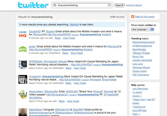 Twitter search results when you search using a hashtag: #causemarketing.