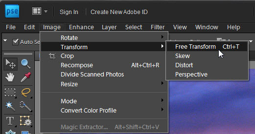 The Image-->Transform menu in Photoshop Elements.