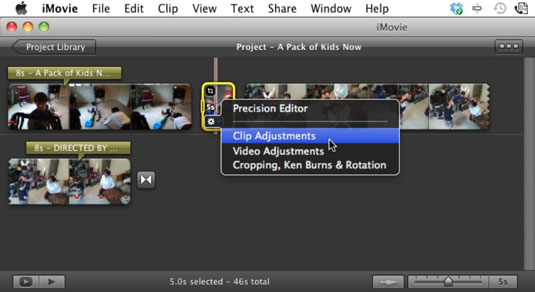 Choose Clip Adjustments to change the photo clip's duration.