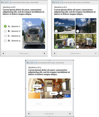 Three options for how review objects can present their questions: a list with image (top-left), an