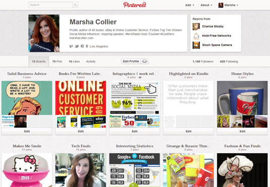 This Pinterest page has boards that should engage the author's readers.