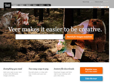 Veer.com is a media resource for designers, so search is an important feature of the site. Here you