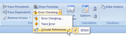 Hunting down circular references via the Formulas tab.