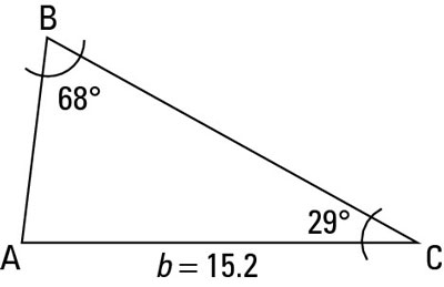 A labeled AAS triangle.