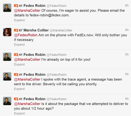Twitter responses from @FedExRobin.