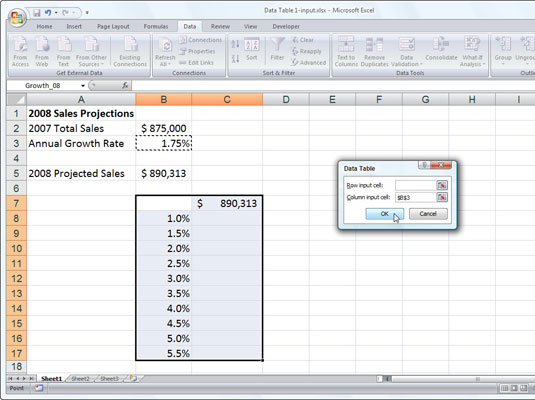 Sales projection worksheet with a column of possible growth percentages to be plugged in to a one-v