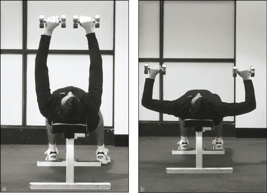 The dumbbell chest press works your chest muscles, shoulders, and triceps. [Credit: Photograph by S