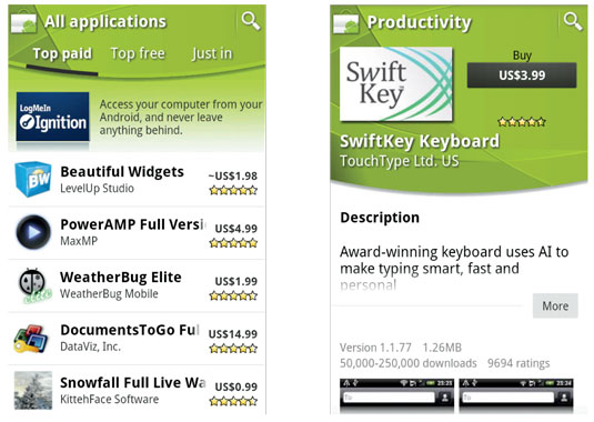 Top-paid apps in the Android Market (left); the description page for the SwiftKey Keyboard app (rig