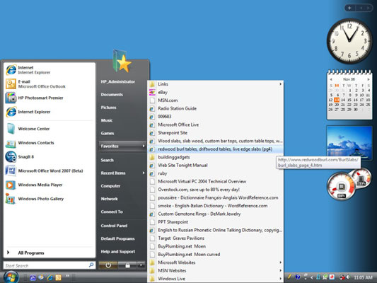 The Favorites submenu in the Windows Start menu.