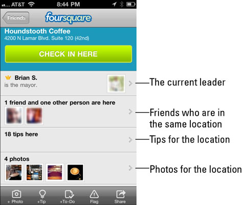 A foursquare check-in.