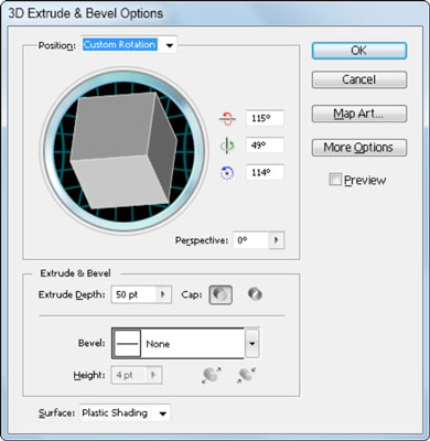 The Extrude & Bevel Options dialog box.