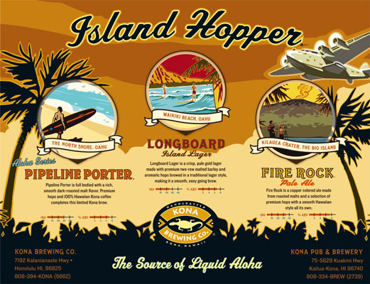 [Credit: Island Hopper Tasting Mat courtesy of Kona Brewing Company]