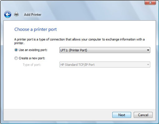 The Select a Printer Port dialog box.