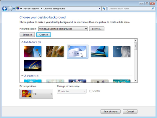 Try different backgrounds by clicking them; click the Browse button to see pictures from different