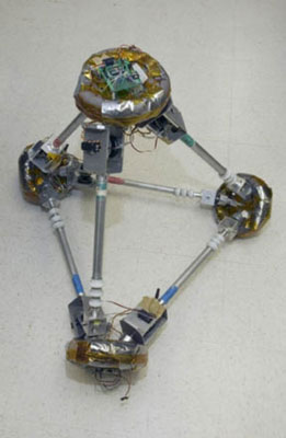 TETwalker robot looks like a tetrahedron (a pyramid with three sides and a base). [Credit: Courtesy