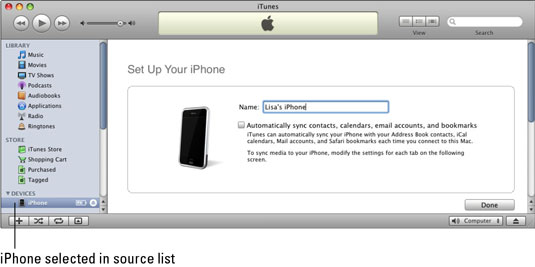 Select your iPhone in the source list to display the Set Up Your iPhone pane.