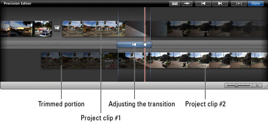 Adjust the transition between two project clips more precisely by using the Precision Editor.