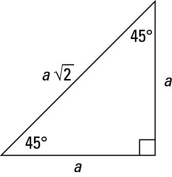 A 45-45-90-degree right triangle.
