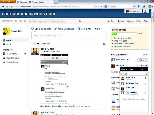 The Yammer home screen.