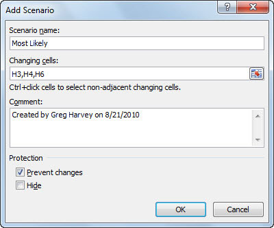 Create a scenario in the Add Scenario dialog box.