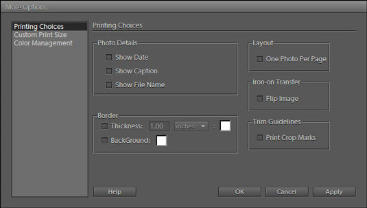 The More Options dialog box provides additional options for printing photos.