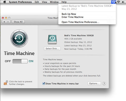 The Time Machine System Preferences pane and menu.