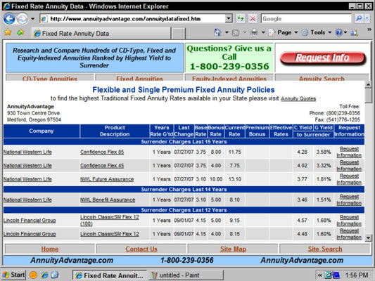 A table of fixed annuity rates from the Annuity Advantage Web site.
