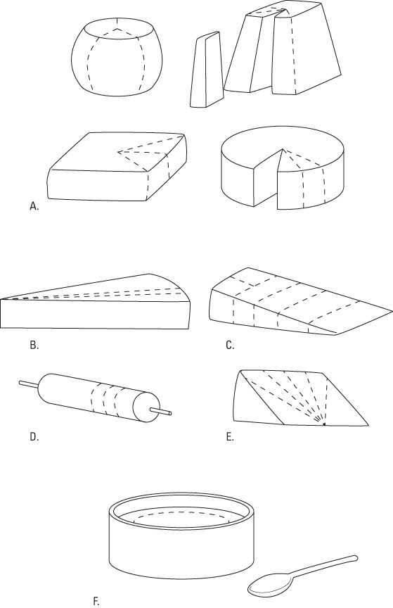 Cutting different styles and shapes of cheese.