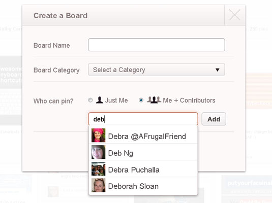 Create a pinboard that other Pinterest users can post to.