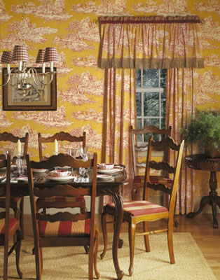 Wood and carpeting or wood and an area rug are great for a dining room. Generally, the busier a wal