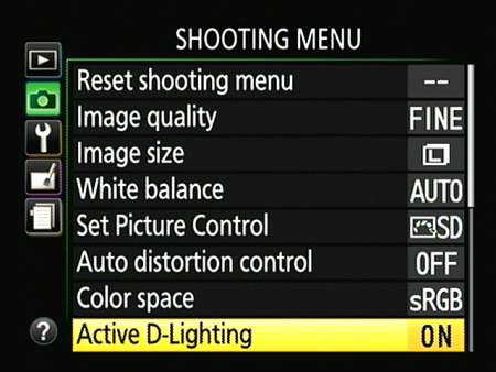 In the advanced exposure modes, you can turn Active D-Lighting on or off via the Shooting menu.