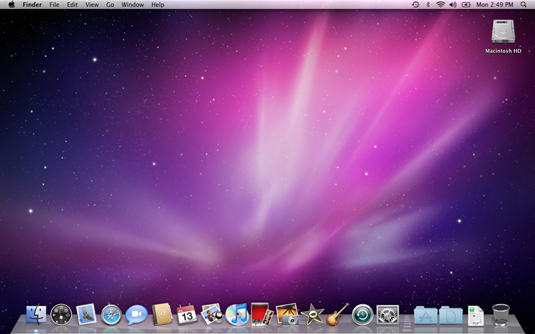 The Mac OS X Desktop after a brand-spanking-new installation of OS X.