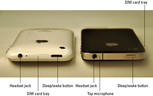 The bottom side of the iPhone 3G and iPhone 3GS (left) and the iPhone 4 (right).